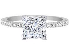 Engagement Ring - Princess Cut White Gold Diamond Engagement Ring Pave Band - ES1035PRWG