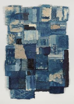 Jennifer Davies: Boro Passage Indigo dyed handmade paper x Textile Fiber Art, Textile Artists, Design Textile, Paper Weaving, Collage Art Mixed Media, Textiles, Art Plastique, Art Sketchbook, Fabric Art