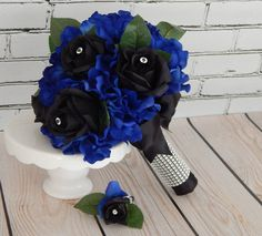 Royal Blue Wedding Bouquet Black and Blue Silk Flower @ www.etsy.com/shop/3Mimis
