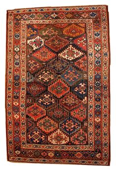 Tapis ancien Persan Kurdish fait main 128cm x 193cm 1880 Antique Persian rug
