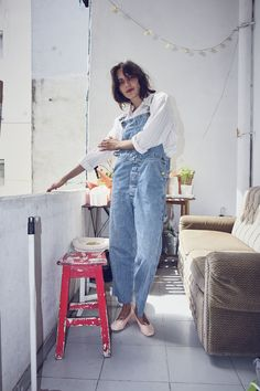 Vintage 90s Light Wash Denim Dungarees