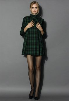 Green Tartan Dolly Dress with Big Bow - Dress - Retro, Indie and Unique Fashion