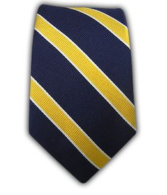"""Navy and Yellow Stripe Skinny Tie from """"The Tie Bar."""""""