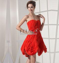 Cheap Red Short Pleats Chiffon Princess Strapless Graduation Dress