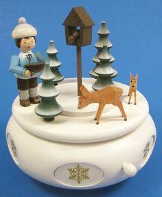 Winter Deer Music Box from Germany Wooden Figurines, Dear Santa, Box, Deer, Seasons, Christmas Ornaments, Holiday Decor, Winter, Music