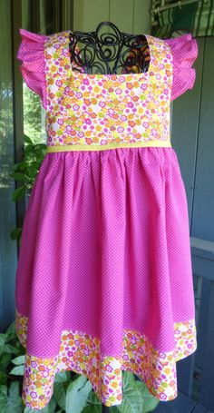 Pink floral little girls dress by EmelineDesign on Etsy