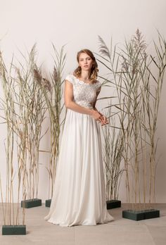 Rochie de mireasă a-line, simplă cu dantelă Couture, Wedding Dresses, Modern, Collection, Fashion, Bride Dresses, Moda, Bridal Gowns, Trendy Tree