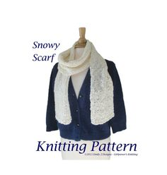 Snowy Scarf Knitting Pattern Chunky Scarf Pattern by Girlpower