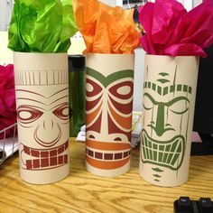 Tiki gods! Glass vase, printer paper, tissue paper! Luau Decorations, Office Christmas Decorations, Cubicle Decorations, Tiki Head, Tiki Lounge, Polynesian Culture, Room Mom, Office Makeover, Office Parties