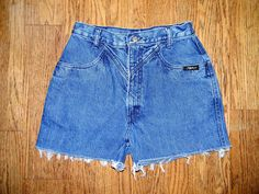 Vintage Denim Cut Offs - Vintage 80s/90s Blue Jean Shorts - High Waisted Cut Off/Frayed Short Shorts/Daisy Dukes - Sale - Size 7/8. $10.00, via Etsy.