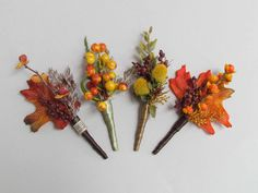 Burnt Orange Bittersweet Boutonniere for your Fall Wedding.