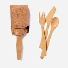 Set of fork, spoon, and knife made from single pieces of organic bamboo.