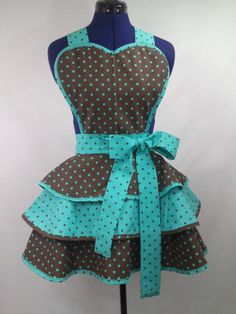 i know its an apron but its the one i want!! Retro Brown and Teal Polka Dot  Apron by DelightfullyDeviant, $50.00