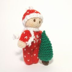 Christmas Bitsy Baby Knitted Toy Doll is snuggly and warm in a Christmas Snow Suit with a matching hat and scarf!