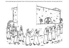 Knutselwerkje De val van Jericho deel 1. Zie ook pin met foto's en deel 2! Vergeet niet om een rode draad te tekenen of vast te maken! Bible craft The fall of Jericho part 1. See other pin with photo's and part 2! Don't forget to draw or add a red cord!