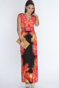This dusty peach maxi dress took you through your morning and noontime errands, but now its time to relax. When your sweetie comes home, you can pair it with a white shawl and color flats for an evening out! This dress features deep v-neck, short sleeves, printed, woven banded empire waist, v-back shape and slightly loose fitted for a more comfortable wear. 95% Polyester 5% Spandex