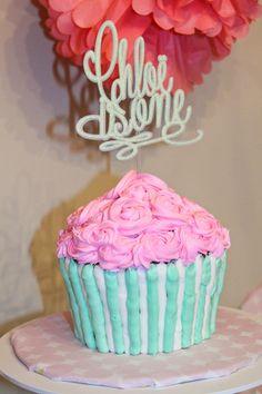 Cupcake Smash Cake_First Birthday Smash Cake_Custom Cake Topper