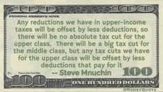 Steve Mnuchin Money Quote saying as Treasury Secretary nominee in January of 2017 that the rich would not receive a tax cut, which was then called the 'Mnuchin Rule' on taxes.
