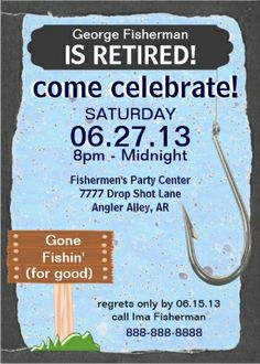 fishing hook themed retirement_party invites retirement party favors retirement celebration retirement party invitations