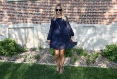The navy long sleeve we've been waiting for. Pair it with beige booties for the full look! #ootd #bohochic
