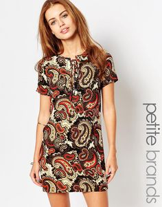 Image 1 ofGlamorous Petite Paisley Print Cap Sleeve Shift Dress With Tie Front