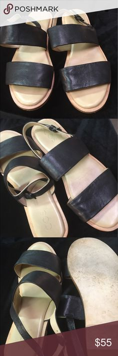 COS Sandal These sandals are made from soft nubuck with simple strap details slim wooden sole and a full padded leather sole for ultimate comfort COS Shoes Sandals