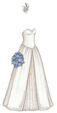 """""""Strapless A-Line Wedding Dress with Feather Fascinator and Blue and Yellow Bouquet""""  [Liana's Paper Doll Blog]"""