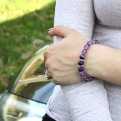 Amethyst, agate and sterling silver bracelet 💜
