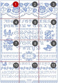 Free Cross Stitch Patterns by EMS Design. Free Project 2008 - The Rose Sampler (Part 1).