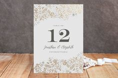 The Wedding Bouquet Foil-Pressed Wedding Table Num... | Minted