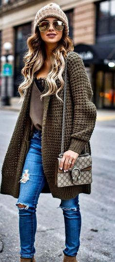 Oversized chunky knit sweater, neutral flowy top, light denim, brown ankle boots