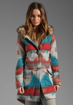 BB DAKOTA Koa Durango Pattern Faux Fur Coat in Taupe at Revolve Clothing