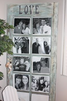 Old distressed door made into a big picture frame..filled with black and white photos!!https://www.facebook.com/VortizFurniture. Just got 3 new doors..... anyone seriously interested please let me know. They are going FAST!!!