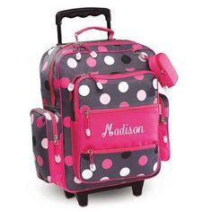 Grey Multi-Dots Rolling Luggage $49.99