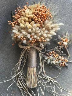 Wedding Dried Flowers Bouquet Set - Bride Bouquet, Boutonniere, Comb Clasp (3 Pieces)