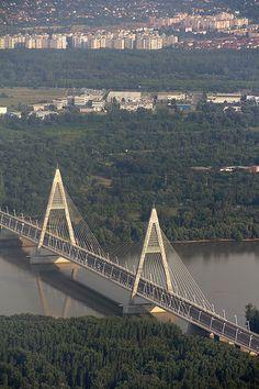 The Megyeri bridge - from above - Budapest, Hungary