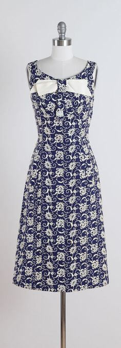 Vintage 1950s Navy Embroidered Irish Linen Dress | From a collection of rare vintage evening dresses at https://www.1stdibs.com/fashion/clothing/evening-dresses/
