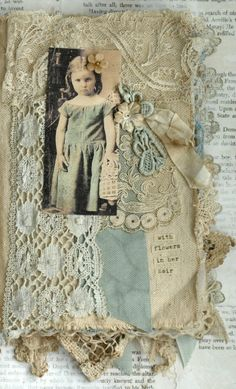 Mixed Media Fabric Collage Book of Girls with Flowers | eBay