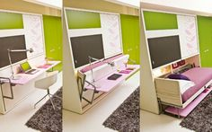 Invista em móveis 'dois em um', como esta cama-escrivaninha