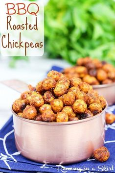 Crispy BBQ Roasted Chickpeas reicpes. A simple, easy to make, clean eating, homemade healthy snack! Taste like BBQ potato chips- yum!   Running in a Skirt