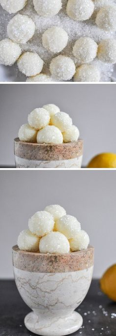 sparkly white chocolate lemon truffles.