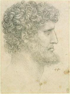 The head of a bearded man in profile Leonardo da Vinci (Vinci 1452-Amboise 1519) #TuscanyAgriturismoGiratola