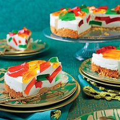 Aunt Laura's Stained Glass Cake   The buttery graham cracker crust cradles an airy pineapple cream and bits of flavored Jello.   SouthernLiving.com