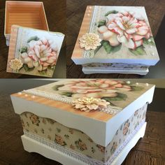 Inspired by how this is finished with it's trim and texture. Decoupage Vintage, Decoupage Wood, Cardboard Box Crafts, Paper Crafts, Decorative Accessories, Decorative Boxes, Diy And Crafts, Crafts For Kids, Painted Wooden Boxes