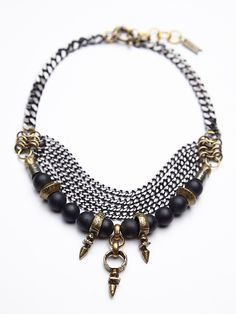 Free People Taj Necklace, $218.00  Make with heavy black or brass ox curb chain, dark beads of choice - maybe serpentine? and jump ring attached legnths of lighter chain or beaded with same beads as bottom. Use a brass tribal pendant.