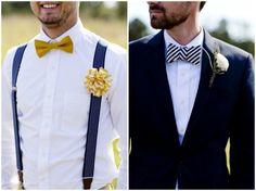 hipster groom look - bow ties and suspenders