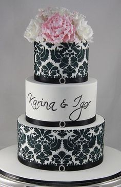 Fabulous Pink & Black combo Wedding Cake by Designer Cakes by Effie    http://www.flickr.com/photos/designer_cakes_by_effie/