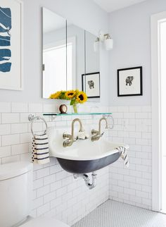 Double bathroom sink in a Brooklyn brownstone remodel (from apartments to single family house) by architect Drew Lang | Remodelista