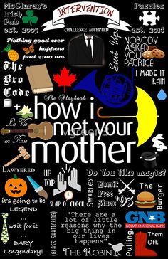 I don't own the series How I Met Your Mother, I really love the show. If I am infringing on any copy rights laws please let me know and I will take this. I made a collage of some cute quotes and references to show. How I Met Your Mother, Friends Tv Show, Joey Friends, Friends Series, Yellow Umbrella, Make It Rain, Poster S, Club Poster, Collage