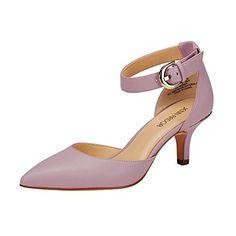 7ddec397655 JENN ARDOR Women s Kitten Heel Pumps Ladies Closed Pointed Toe D Orsay  Sandals Ankle Strap Leather Dress Stiletto Pink 7.5 (9.6in)